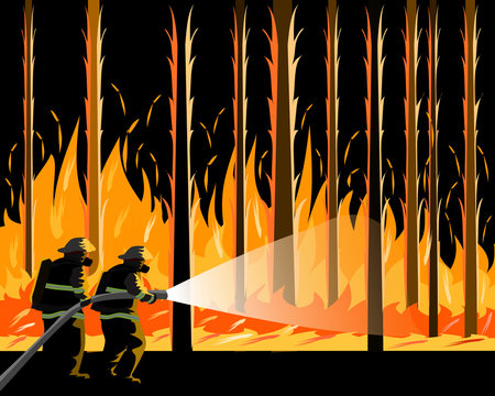 Two firemen carrying a water hose to put out a forest fire. Brave firefighter goes into smoke to put down a wild fire,