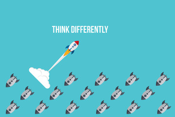 Fototapeta Think differently - Being different, taking risky, move for success in life -The graphic of rocket also represents the concept of courage, enterprise, confidence, belief, fearless, daring, obraz