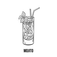 Mojito vector hand drawn illustration. Fruity beverage, strong drink. Monochrome refreshing non alcoholic cocktail with lime, mint and ice ink drawing. Restaurant menu, poster design element