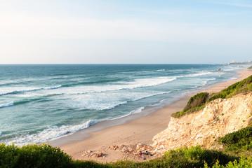 Fototapeten Küste Amazing view on a long beach. Bidart, Basque coast of France.