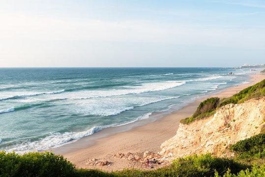 Amazing view on a long beach. Bidart, Basque coast of France.