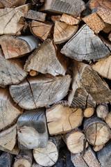 Background: Chopped wood stacked outside