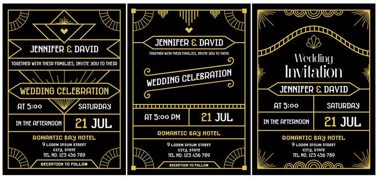 Wedding Invitation Art Deco Gatsby's Roaring Twenties Style vector art