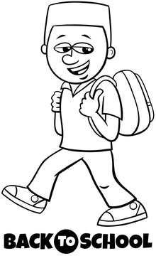 boy student back to school coloring book