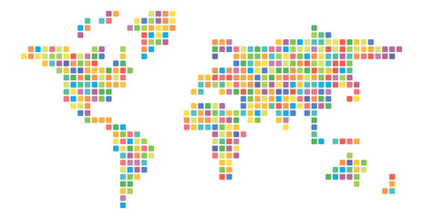 Wall Mural - World map multicolored mosaic of small squares. Vector illustration