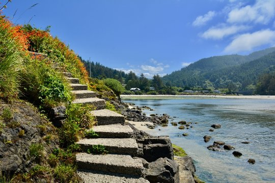 Yachats Oregon Pacific Northwest PNW Coast Landscape Stairs
