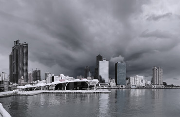 Kaohsiung Waterfront with Dramatic Sky