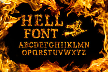 Hell Font set. Fire flames on black isolated background, realistick fire effect with sparks. Part of alphabet set