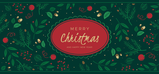 Christmas background with pine branches, berries, cones. Unique holiday design, for banner, poster or invitation