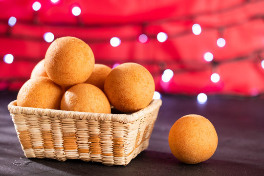 Traditional Colombian buñuelo - Deep Fried Cheese Bread. Christmas decoration.