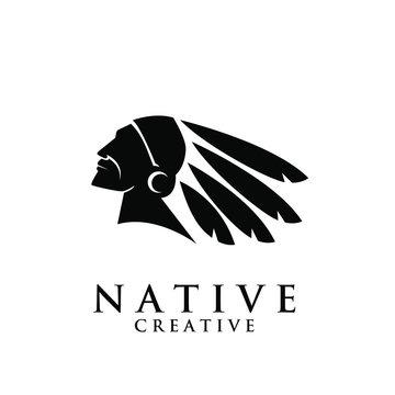 native apache indian logo icon designs vector illustration template