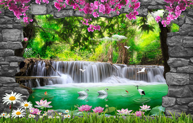 Foto op Aluminium Grijs 3d nature wallpaper and stone arch waterfall