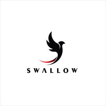 Bird Logo simple flying swallow animal vector design template element