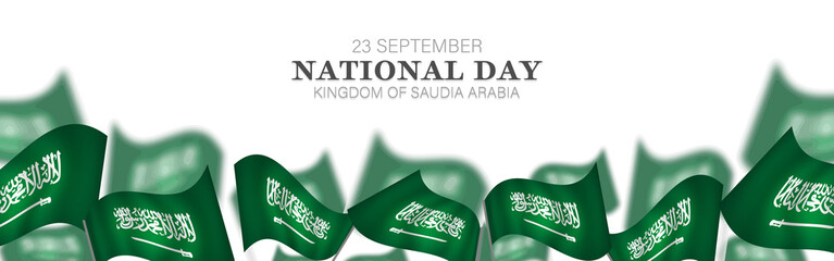 Saudi Arabia national day in September 23 th. Saudi Arabia flag with Happy independence day celebrating vector illustration Fototapete