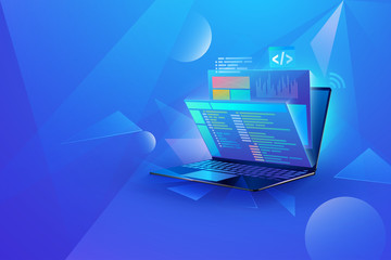 web development technology concept design. Laptop with virtual interactive screens processing, web interface design, software coding and programming languages Wall mural