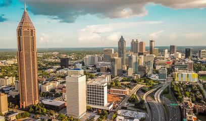 Cadres-photo bureau Vieux rose Aerial Downtown Atlanta
