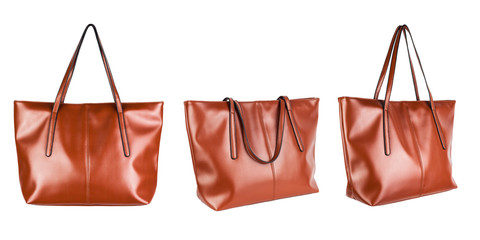 Leather woman tote bag isolated on white background.
