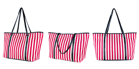 Striped summer bag isolated on white background.