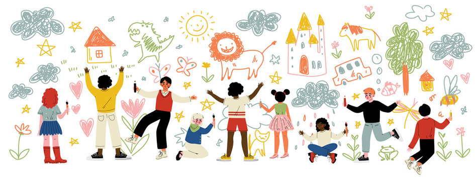 Cute Kids of Different Nationalities Painting and Drawing with Brushes and Pencils on White Wall Vector Illustration