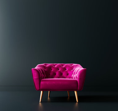 Cyclamen pink armchair in black interior room 3D Rendering
