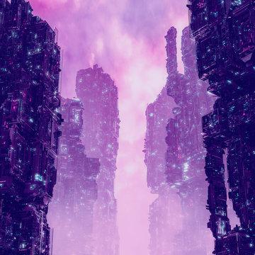 Cyberpunk metropolis dawn / 3D illustration of dark futuristic science fiction city at sunrise