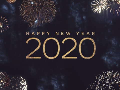 Happy New Year 2020 Text with Gold Fireworks in Night Sky