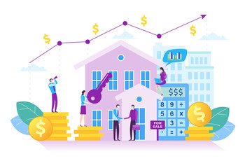 Illustration of property investment. Investment growth concept in modern flat design. Illustration for landing page, web page, business presentation, marketing material and infographic