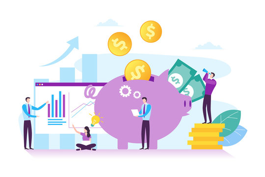 Illustration of business investment, strategic business planning, financial and teamwork concept in modern flat design. Illustration for landing page, web page, presentation, and infographic