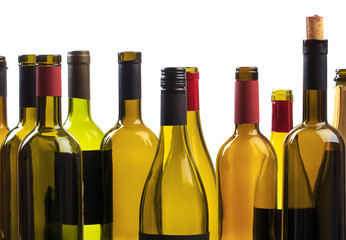 set of empty bottles of wine and glass  background  - Image