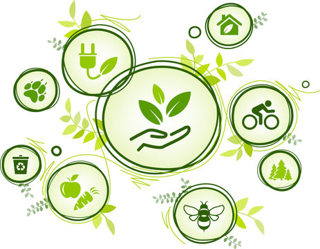 sustainability icon concept: environment, green energy, recycling, conservation of resources – vector illustration