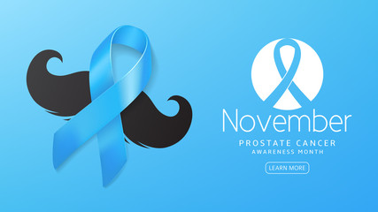Prostate cancer awareness month banner. Vector illustration with satin ribbon and moustache on blue background. Men healthcare concept.