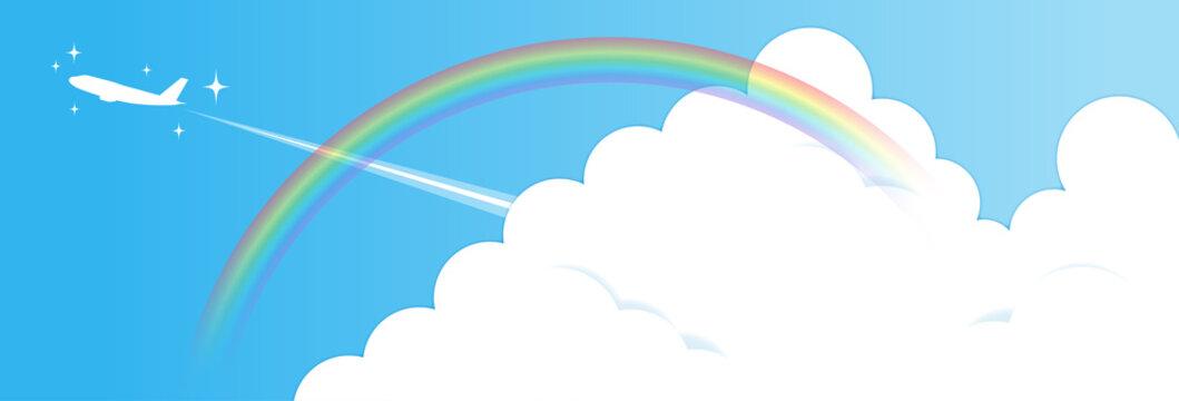 夏の青空と入道雲と虹と飛行機(きらきら付き)