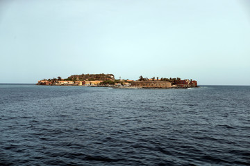 A general view of Goree Island is seen off the coast of Dakar