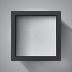 Realistic empty black frame on light background, border for your creative project, mockup for you project. Vector design