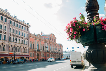 Nevsky Prospect tourist main street in Saint Petersburg, Russia