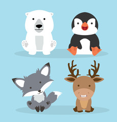 Cute arctic animals cartoon set