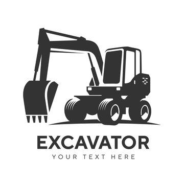 excavator logo emblem on white background