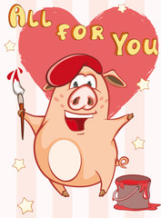In de dag Babykamer Happy Birthday Card Little Pig Painter. Vector Greeting Card. Happy Moment. Congratulation.