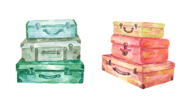 Watercolor suitcases isolated on white background