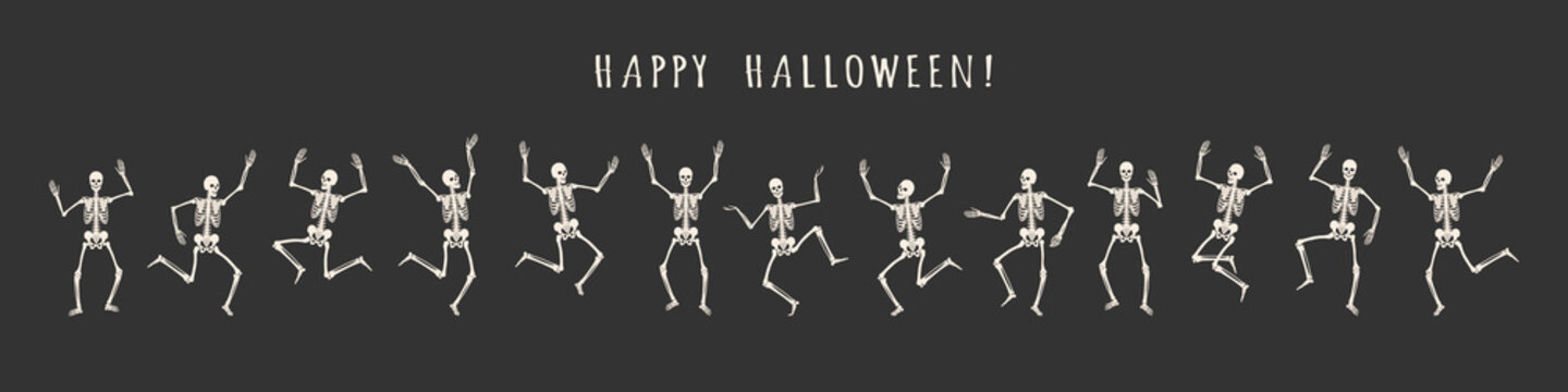 Banner of 13 dancing and jumping skeletons isolated on a black background. Happy Halloween. Vector illustration