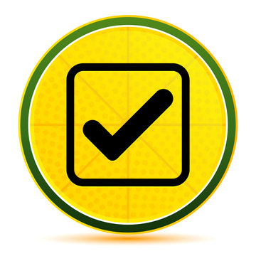 Check box icon lemon lime yellow round button illustration