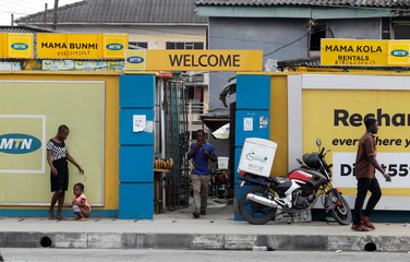 The logo of MTN telecommunication company is seen at the entrance of police barracks in Lagos