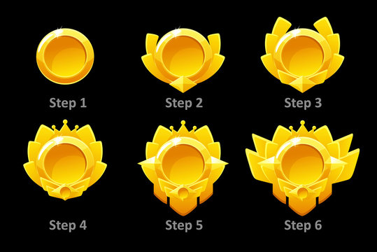 Awards medals for Gui Game. Vector golden template award in different versions. Objects on a separate layer.
