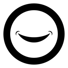 Smile Smlie doodle icon in circle round black color vector illustration flat style image