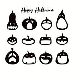 Printed kitchen splashbacks Illustrations Set of different Halloween pumpkins, jack o lanterns. Isolated objects on white. Black silhouette. Hand drawn vector illustration. Flat style. Design element for banner, poster, flyer, invitation.