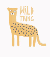 Wild Thning.Watercolor Style Vector Art with Hand Drawn Cheetah Isolated on a White Background. Cute Wild Cat Illustration Ideal for Card, Wall Art, Invitation, Poster, Label, Safari Party Decoration.