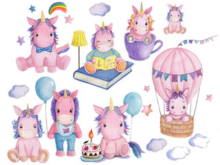 Set collection clipart of cute cartoon unicorns. Hand drawn, isolated.