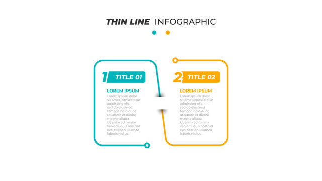 Business infographic template design label with 2 options, steps or process. Thin line concept for presentation. Vector illustration.