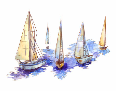 Vector watercolor sailboat regatta  isolated on white. Seascape scene in sketch style