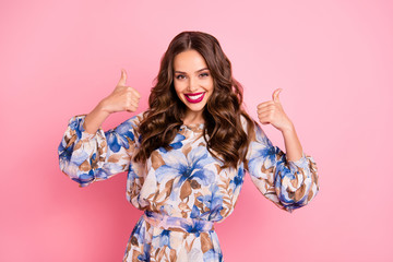 Portrait of her she nice-looking attractive lovely glad cheerful cheery content wavy-haired lady showing two double thumbup ad advert advice isolated over pink pastel background